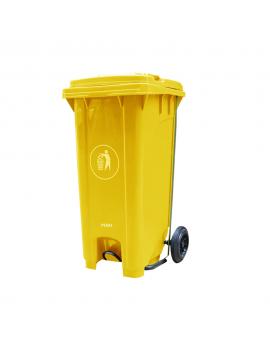 Basurero 120 lts amarillo con Ruedas y Pedal